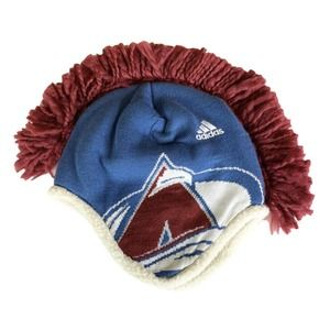 Colorado Avalanche Mohawk Ski Hat Sherpa Lined NHL Adidas Official EUC